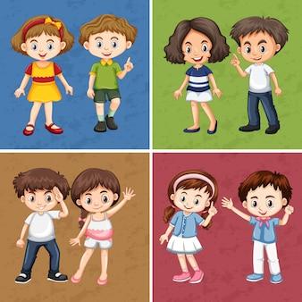 Niños en diferentes colores de fondo