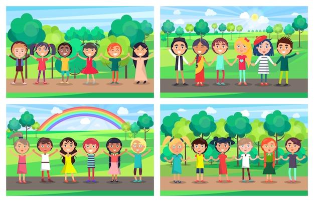 Niños de diferentes nacionalidades se dan la mano.