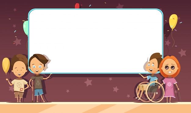 Niños discapacitados con banner en blanco blanco sobre fondo oscuro con dibujos animados de decoración