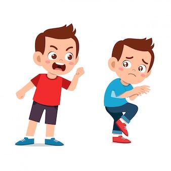 Los niños discuten pelea con un amigo