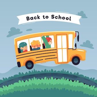 Niños de diseño plano de regreso a la escuela