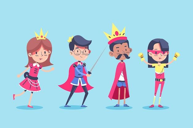 Niños con disfraces de carnaval de superhéroe.