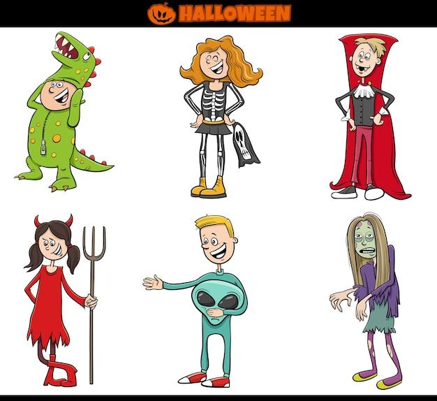 Los niños en disfraces de halloween establecen ilustración de dibujos animados