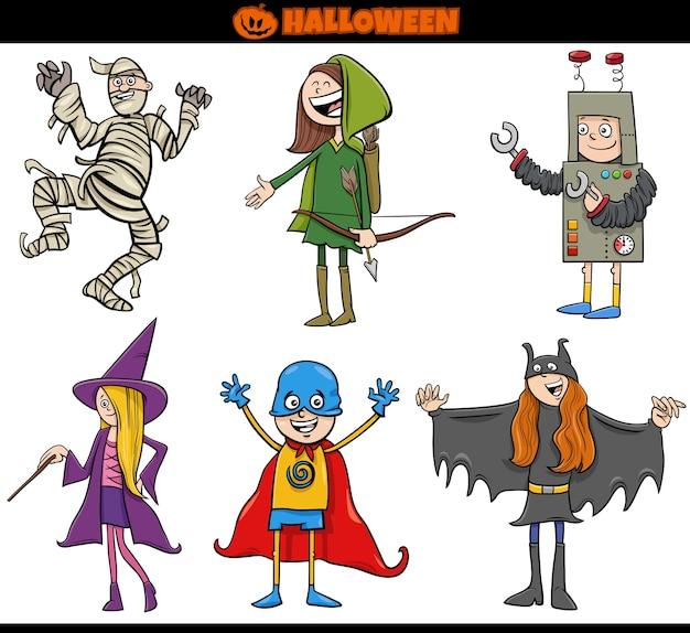 Niños en disfraces de halloween establecen ilustración de dibujos animados