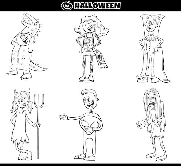 Los niños en disfraces de halloween establecen página de libro para colorear de dibujos animados