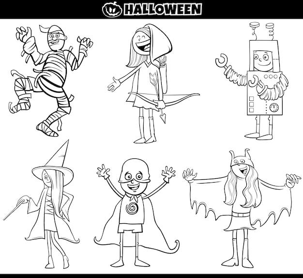 Los niños en disfraces de halloween establecen la página del libro para colorear de dibujos animados