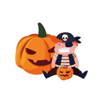 Niños en disfraces de halloween