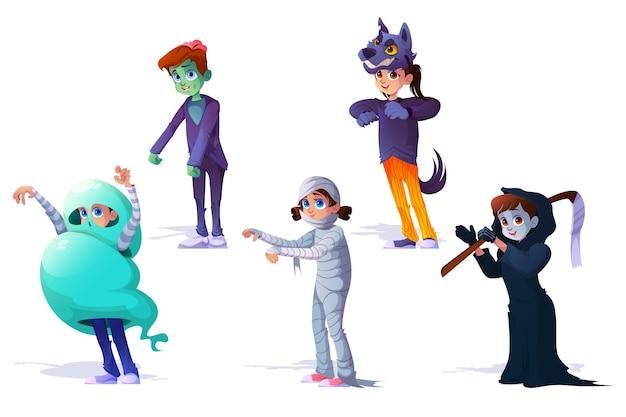 Niños en disfraces de monstruos de halloween carnaval
