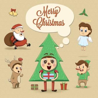 Niños con disfraces navideños