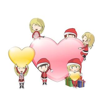 Niños con disfraz de papá noel alrededor de un gran corazón