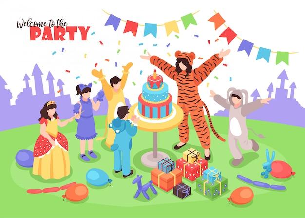Niños disfrazados divirtiéndose en la fiesta de cumpleaños con animadora femenina isométrica 3d