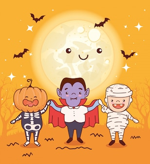 Los niños disfrazados de feliz celebración de halloween, diseño de ilustraciones vectoriales