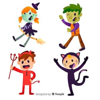 Niños disfrazados de halloween dibujados a mano