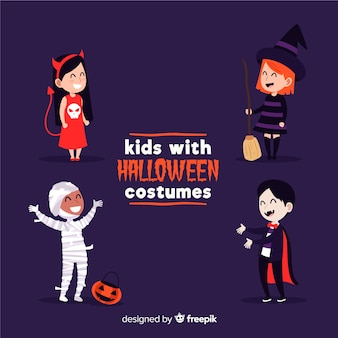 Niños disfrazados de monstruos para halloween sobre fondo morado