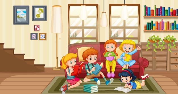 Los niños disfrutan leyendo libros en la escena del hogar.