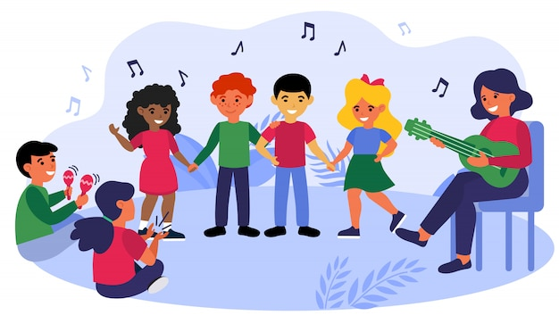Niños disfrutando la clase de música