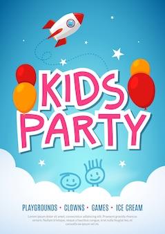 Niños diversión fiesta celebración flyer plantilla de diseño