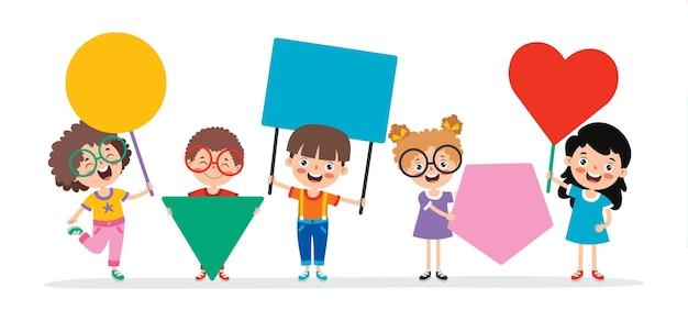Niños divertidos con cartel en blanco
