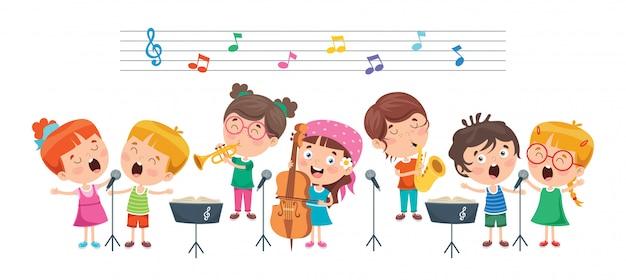 Niños divertidos interpretando música