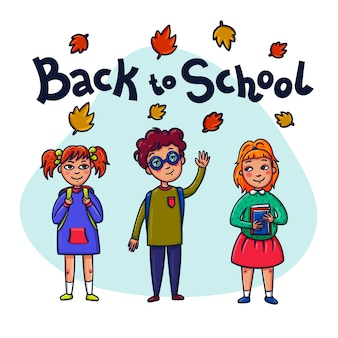 Niños divertidos con libros escolares y mochilas.