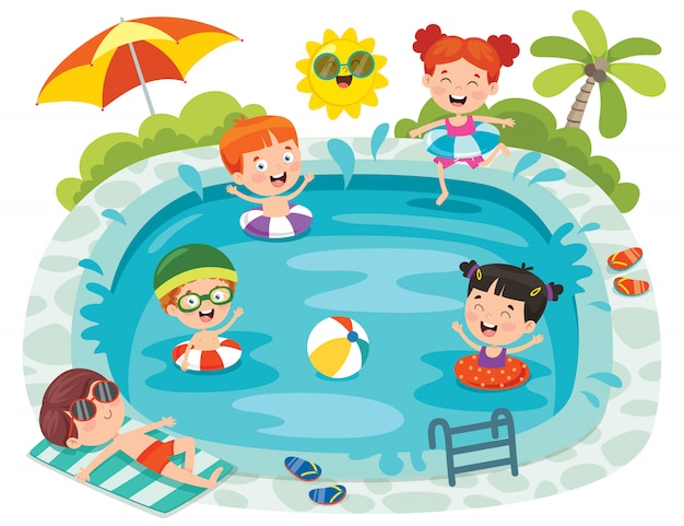 Niños divertidos y piscina