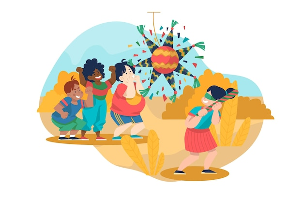 Niños divirtiéndose mientras celebran posadas ilustradas.