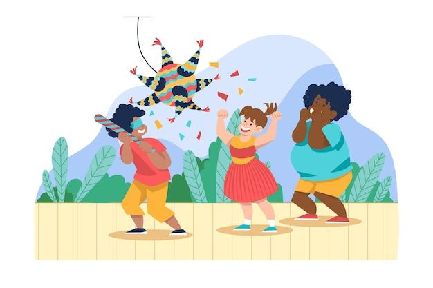 Niños divirtiéndose mientras celebran posadas.