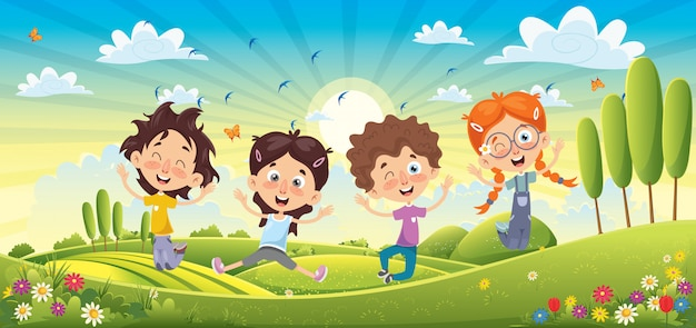 Niños divirtiéndose en el paisaje de primavera