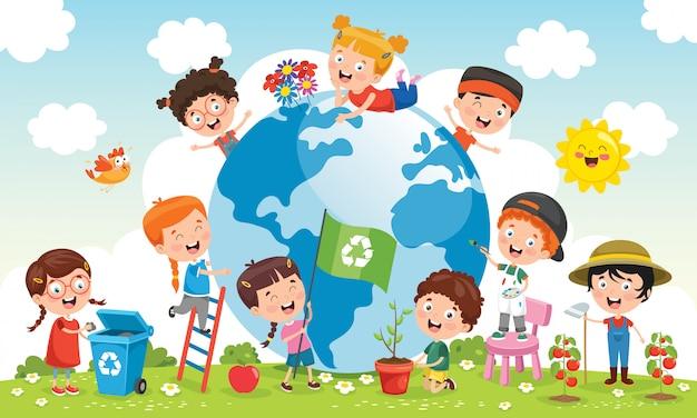 Niños divirtiéndose con la tierra