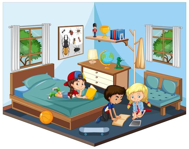 Niños en el dormitorio en escena temática azul sobre fondo blanco.
