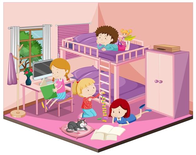 Niños en el dormitorio con muebles en tema rosa.