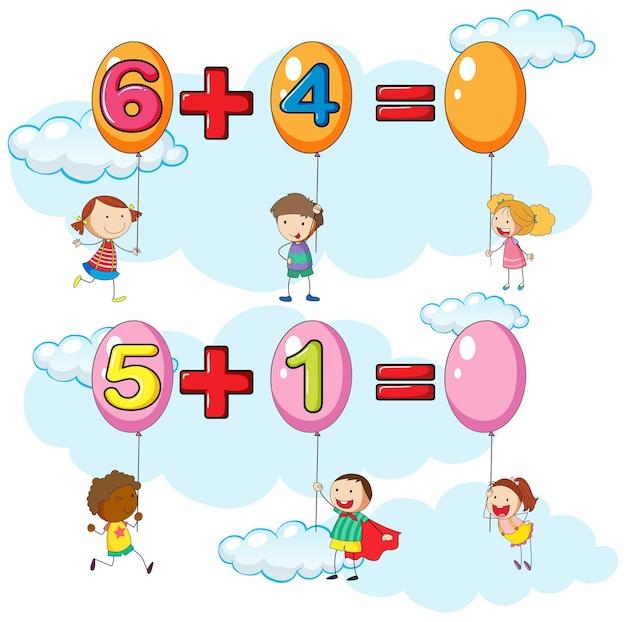 Niños y dos preguntas de suma en el cielo.