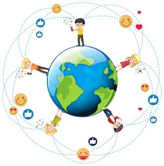 Niños con elementos de redes sociales en el globo terráqueo.