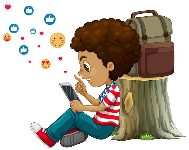 Niños con elementos de redes sociales sobre fondo blanco.