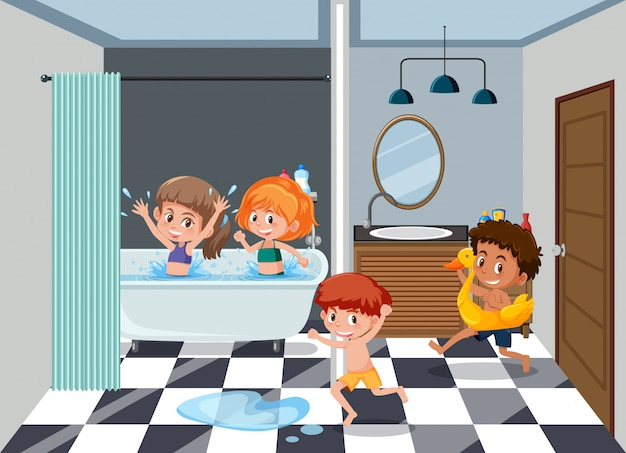 Niños en el baño