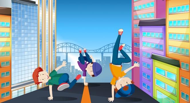 Niños en una ilustración de street dance