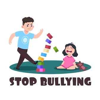 Niños enojados chico malo y niña llorando. dejar de intimidar ilustración vectorial