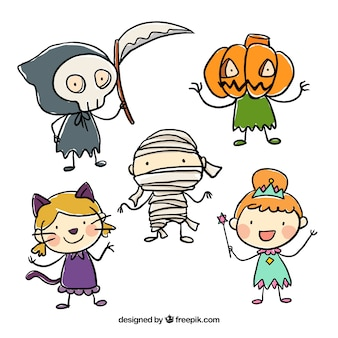 Niños esbozados disfrazados