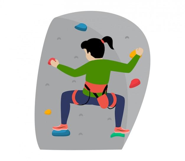 Niños escalador escalador personaje infantil sube a la pared de la montaña de roca o al acantilado montañoso ilustración conjunto de montañismo de niño en deporte extremo montañero sobre fondo blanco