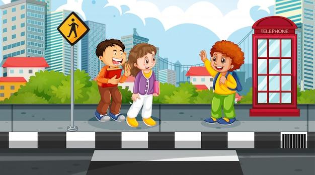 Niños en escena callejera