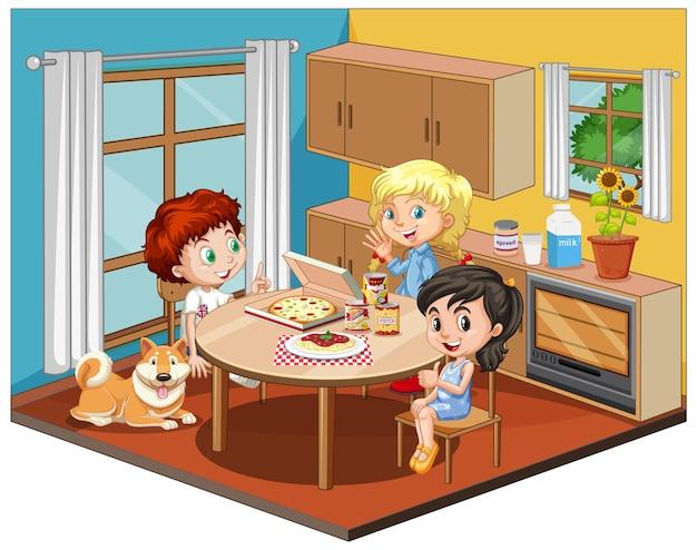 Niños en la escena del comedor sobre fondo blanco.