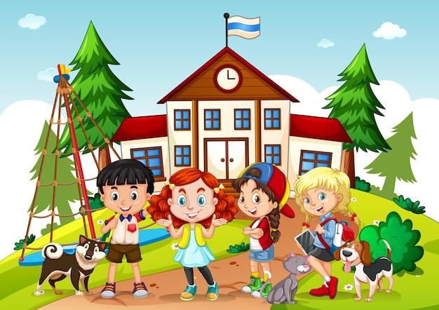 Niños en la escena escolar.