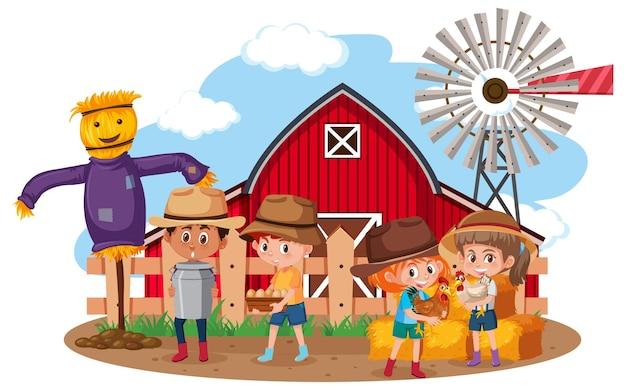 Niños en escena de la granja sobre fondo blanco.
