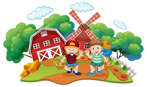 Niños en la escena de la granja.