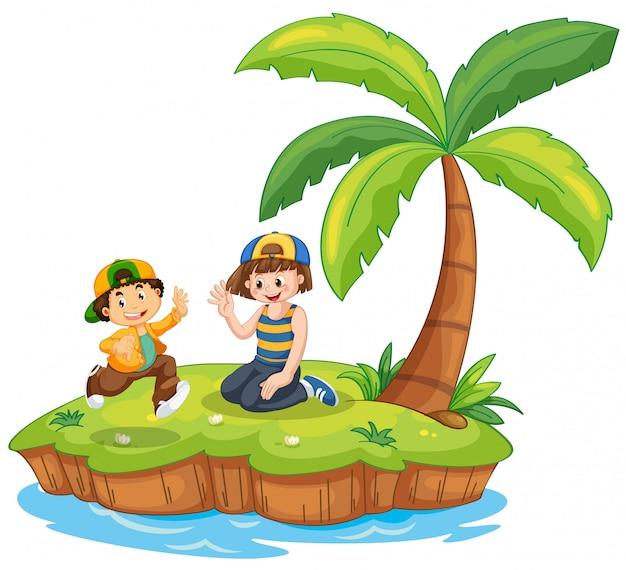 Niños en la escena de la isla