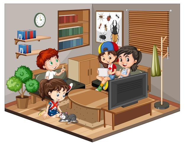 Niños en la escena de la sala de estar sobre fondo blanco.