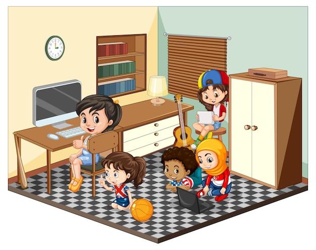 Niños en la escena de la sala de estar.