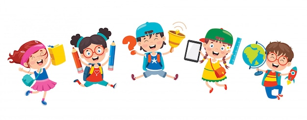 Niños de la escuela de dibujos animados lindo feliz