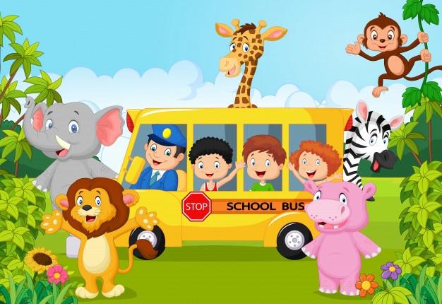 Niños de escuela de dibujos animados en safari