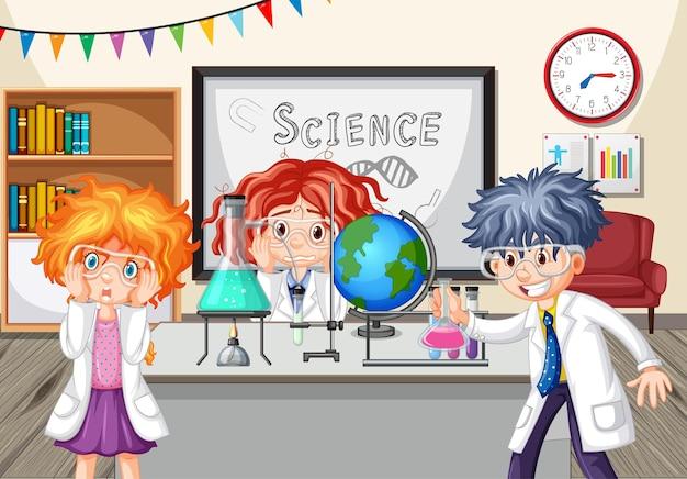 Niños de la escuela haciendo experimentos de química en el aula.